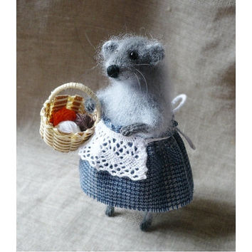 Knitted Toy Mouse Shabby Chic Soft Toy Art Sculpture Handmade Mouse Toy