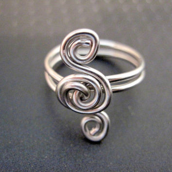 Triple Spiral Ring  Silver Tone or 6 Color by ArianrhodWolfchild