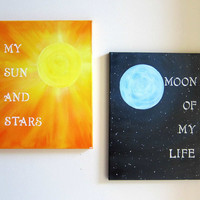 Game of Thrones Original Painting Set 11x14 - My Sun and Stars / Moon of My Life Canvas Artwork - Khal and Khaleesi Quotes Art