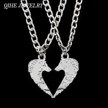 QIHE JEWELRY 2PC/SET Wolf Pendant Couple Necklace Best Friends Friendship 2 Part Heart Jewelry Handcut Coin For Men Women Gifts