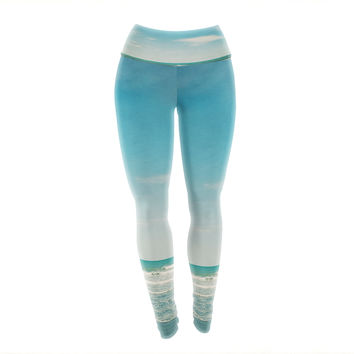 "Susannah Tucker ""The Teal Ocean"" Green Blue Yoga Leggings"