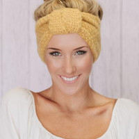 Knitted Turban Headband In Mustard