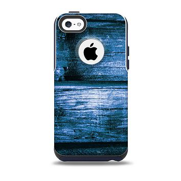The Grunge Blue Wood Planks Skin for the iPhone 5c OtterBox Commuter Case
