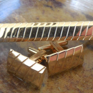 "Hickok Tie Clip and Cuff Links Set, Vintage Men's Accessories, Tie Clip 2 3/4"" and Cuff Links 3/4"", Vintage Gold Tone Hickok Made in USA"