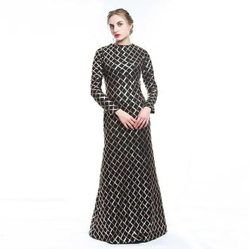Mermaid Evening Dress Black Sequined Long Sleeve Party Gown robe