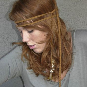 Hippie tie headband of braided leather headbands by BeSomethingNew