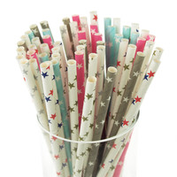 Star Paper Straws, 7-3/4-inch, 25-pack
