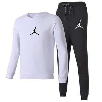 NIKE AIR JORDAN autumn and winter models new casual fashion fitness sportswear two-piece White