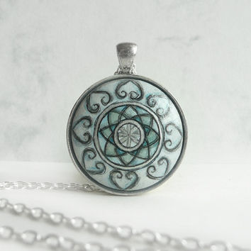 Unique Hand Painted Necklace, Mandala Jewelry,  Blue Necklace - Pendant - Charm -  Miniature Painting Jewelry