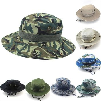 1Pc 58cm-60cm Sun Hats Cap Fisherman Cap Men Women Military Panama Safari Boonie Camouflage Bucket Hat With String