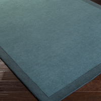 Mystique Area Rug | Blue Solids and Borders Rugs Hand Loomed | Style M5376