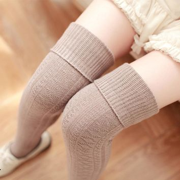 Feitong High Quality Women Girls Winter Over The Knee Leg Warme Soft knitted Crochet Thigh High Socking calcetines mujer
