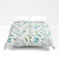 Watercolor Teal Green Teal Blue Leaves Pattern Duvet Cover by DazzetteMarie