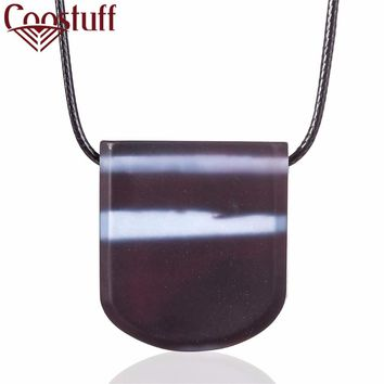 Lovely Purple Handmade Trapezoid Resin & Wooden Pendant Necklace