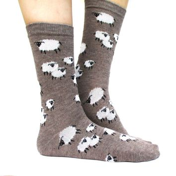 Sheep Farm Novelty Printed Fluffy Comfortable Long Socks for Women in Light Brown