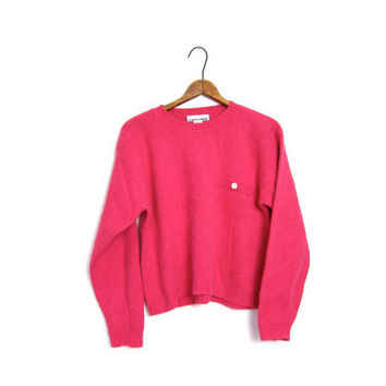 Vintage Cropped Pink ANGORA Wool Sweater Fuzzy Soft 90s Crop Top Pocket Sweater Preppy Bohemian Girl Jumper Medium