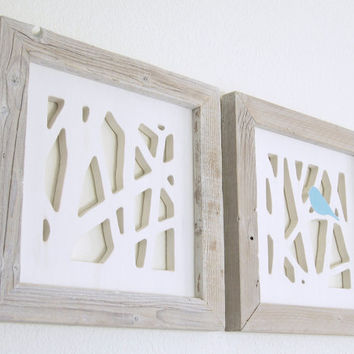 Blue Bird Wall Art Set, Shabby Chic Wall Art, Framed Art Set, Reclaimed Wood Art