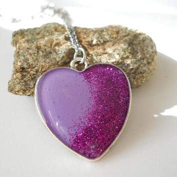 Purple heart necklace, surgical steel chain, purple resin heart, glitter in resin, purple glitter, engagement gift, marriage proposal