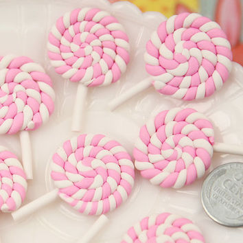 Candy Cabochons - 25mm Pastel Pink Swirl Lollipop Flatback Clay or Resin Cabochons - 6 pc set