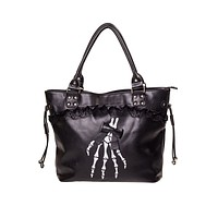Gothic Lolita Skeleton Hands and Black Bow Lace Trim Handbag
