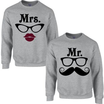 MR. MUSTACHE MRS. MUSTACHE COUPLE SWEATSHIRT