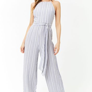 Striped Self-Tie Jumpsuit