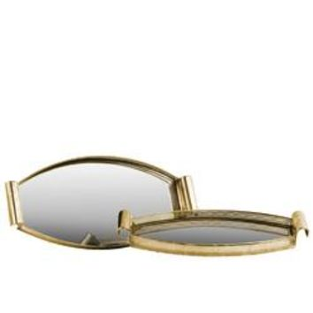 Pierced Metal Elliptical Tray with Mirror Surface Set of 2 Gold - Benzara