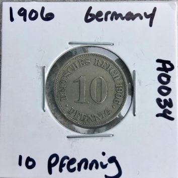 1906 German Empire 10 Pfennig Coin A0034