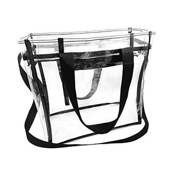 Largest NFL Stadium Approved Clear Bag with Handles and Adjustable Strap 12x12x6 Clear Tote for Men and Women