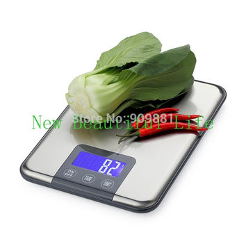 15KG*1g Large Kitchen Electronic Scales Max Capacity 15KG Digital Food Weight Balances Slim Stainless Steel Scale FreeShipping
