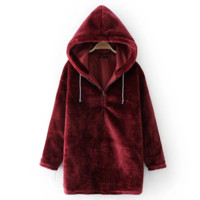 Sexy thickness velvet long hoodie dress sweater Wine red