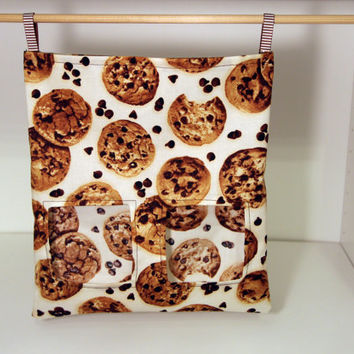 Rabbit Hay Sack, Guinea Pig Feeder, Reusable Cloth Feed Bag - Chocolate Chip Cookies