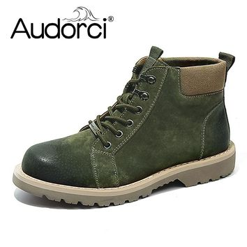 Audorci Winter Men Boots Casual Safety Work Boots Ankle Boot Men's Snow Shoe Work Plus Size 38-44 3Colors With Fur