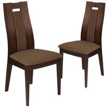 2 Pk. Almont Wood Dining Chair with Curved Slat Wood and Fabric Seat