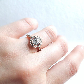 Rose Gold Fill engagement ring,  pink gold ring, Solitaire diamond ring, modern ring, diamond ring, engagement ring, skinny diamond ring