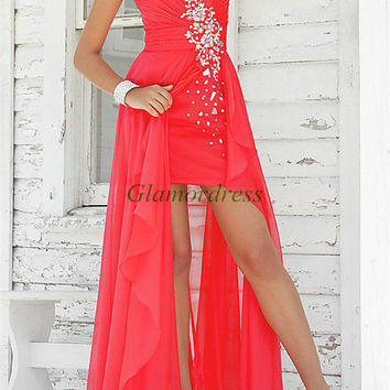 flowing red chiffon holiday dresses with crystals / unique long applique prom gowns / cheap sweetheart dress for homecoming party