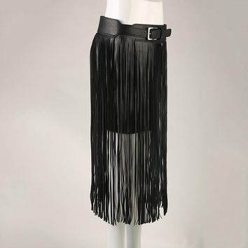 New fashion Long tassel belts Fringe Black Faux pu Leather Lady Belt High Waist tide Punk Boho female waist Hippie belt Bl76