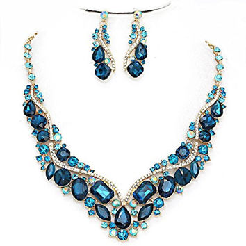 Affordable Wedding Jewelry Teal Blue Ab Austrian Crystal Post Earrings Gold Chain Pageant Necklace Set