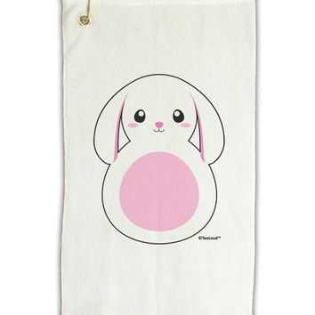 "TooLoud Cute Bunny with Floppy Ears - Pink Micro Terry Gromet Golf Towel 11""x19"