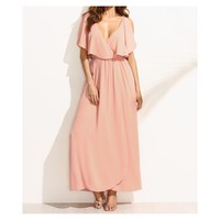 Blush Pink V Neck Ruffle Maxi Dress