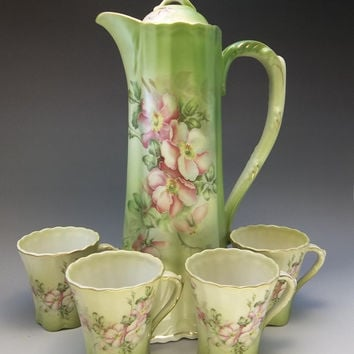 Nippon Chocolate Pot Tea Cup Pink Purple Roses Green Porcelain 5 Piece Lot