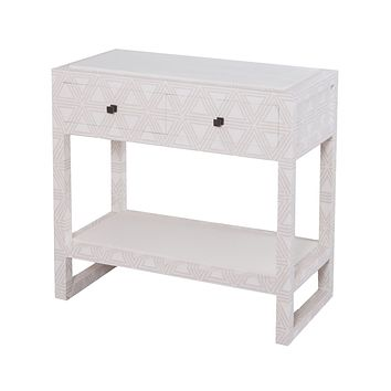 Bedford Fabric Wrapped 2 Drawer Bedside Table Dove White,Gray