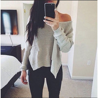 New Arrival Women Fashion 2016 Autumn Winter  Sweater Long Sleeve Solid V-neck Sweater Sexy Loose Casual Style Clothing  X0386