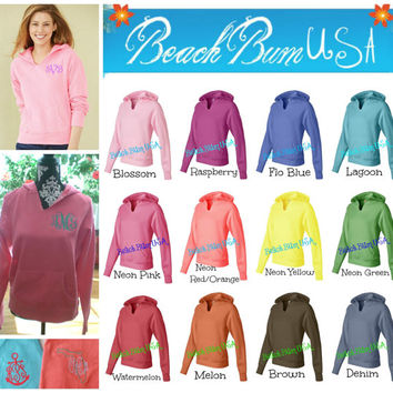 Monogram Hoodie Sweatshirt Comfort Colors State or Anchor Custom Embroidery Back To School