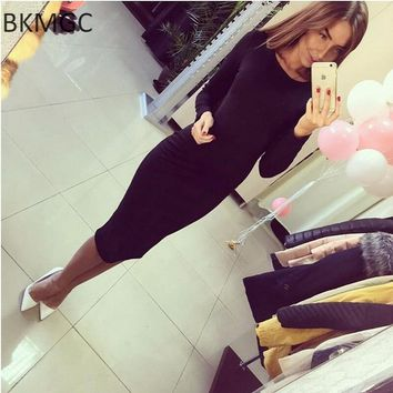 Fall Women's Shoulders Office Dresses Solid Tight Short Sleeve Knee Length Pack Buttocks Dress Feamle Vestidos