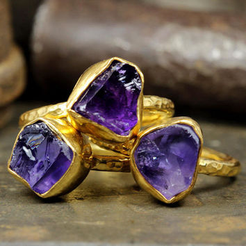 Natural Gemstone Raw, Rough Amethyst Handcrafted Hammered Set of Three 24K Yellow Gold over 925 Sterling Silver, Ancient Roman Art Band Ring