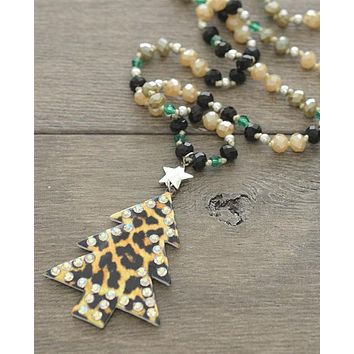 Leopard Holiday Tree Necklace
