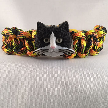Snarky the Cat- Children Paracord Heaven Survival Bracelet with Knot Closure