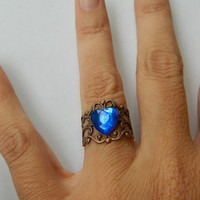 Adjustable ring sapphire blue heart
