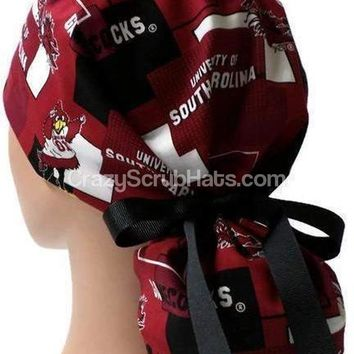 Women's Ponytail Surgical Scrub Hat Cap in USC Gamecocks New Block
